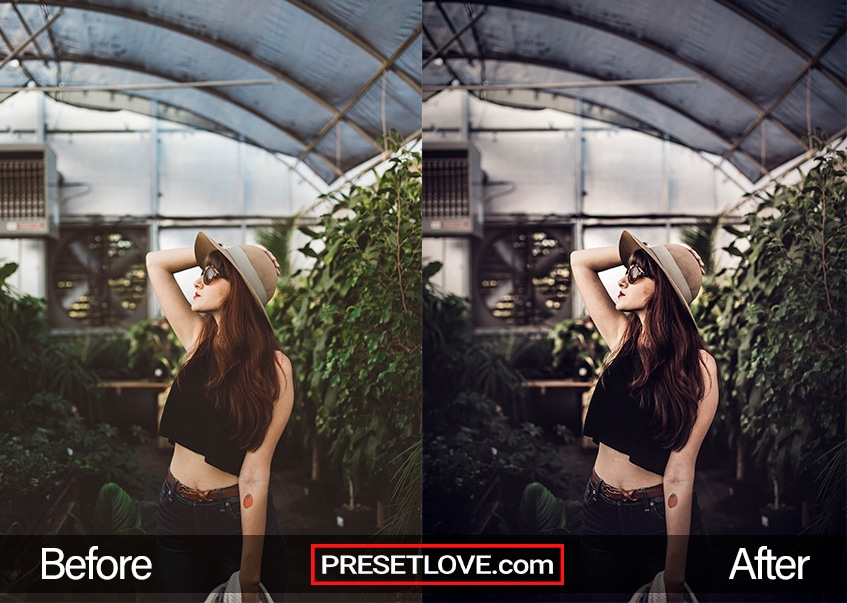 A high-contrast photo of a woman posing in front of a greenhouse background