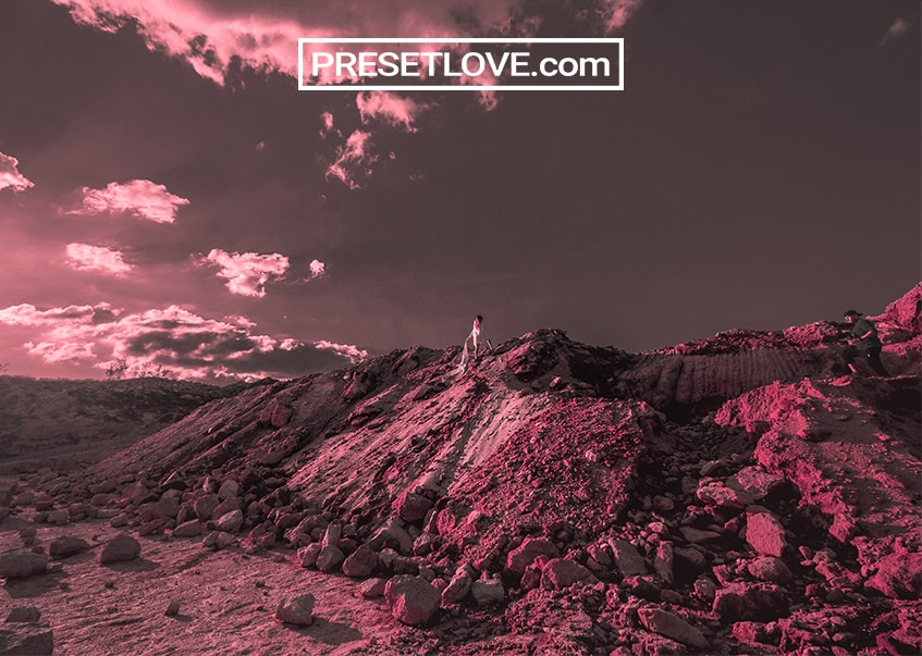 A stunningly red photo of a landscape