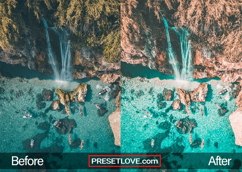 Orange and Teal Preset Waterfall blue water tropical