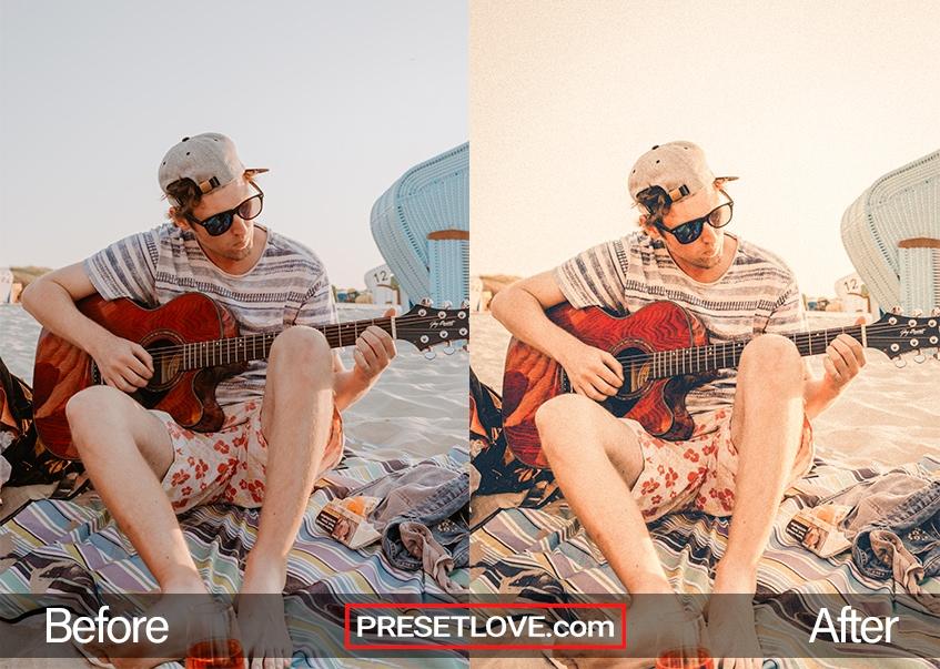 Aged Film Preset Playing guitar