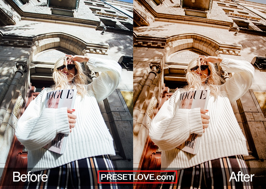 A warm fashion preset for Lightroom applied on a photo of a woman holding a Vogue magazine