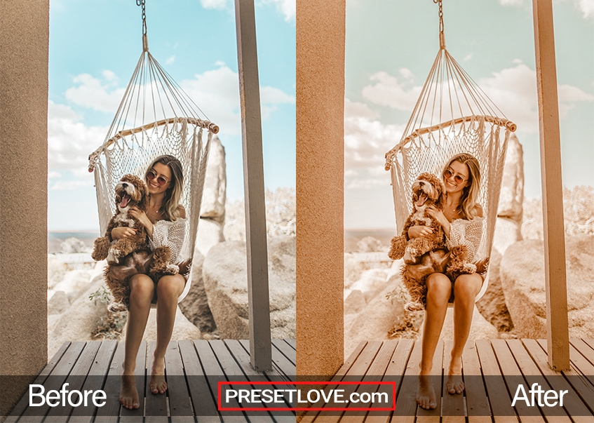 A warm pastel preset being used on a photo of a woman and her dog