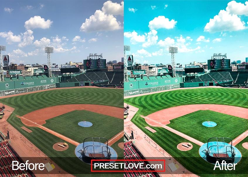 Vibrant free sports lightroom preset applied on a baseball field
