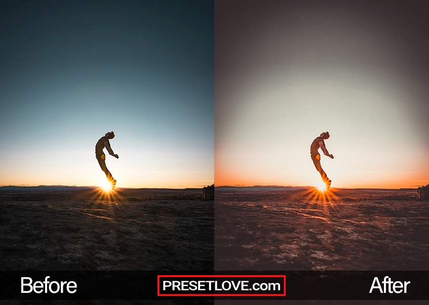 An impressive photo of a man leaping up, with the sunset horizon in the background.