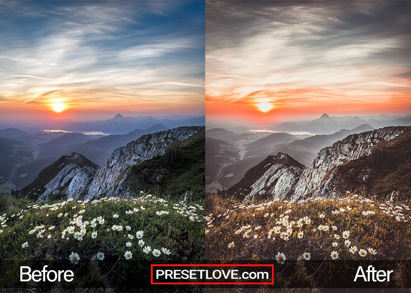 A scenic photo of a mountain scene, enhanced by PresetLove Sunset preset