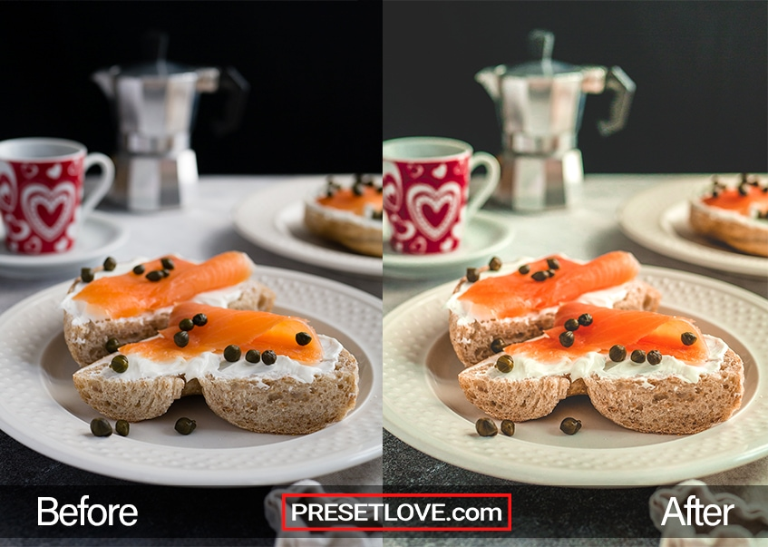 A bright and detailed photo of a salmon breakfast, enhanced by PresetLove Food preset