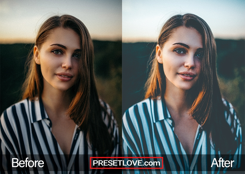 Cool Fade Preset - woman in stripes