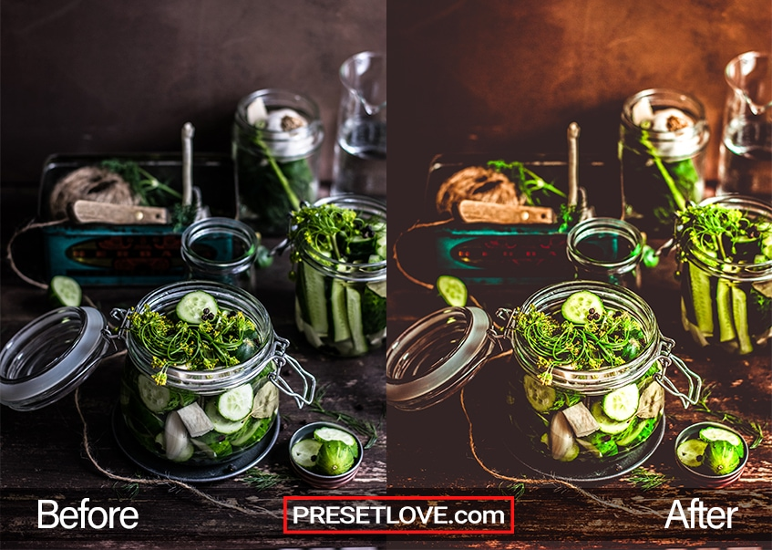 A food preset for Lightroom applied to a photo of greens