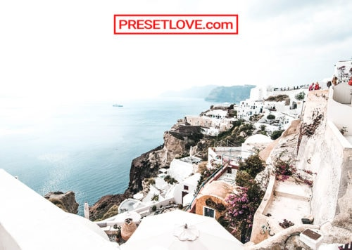 A cityscape photo of Santorini enhanced by a free bright white Lightroom preset