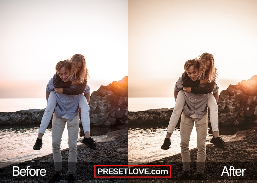 A vivid brown Lightroom preset applied on an outdoor couple photo