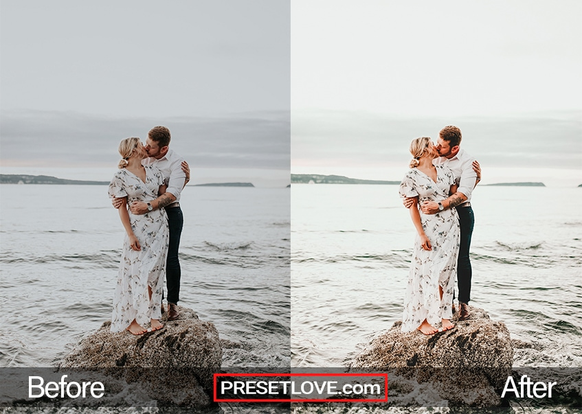 A wedding photoshoot of a couple by the beach, using a bright wedding Lightroom preset