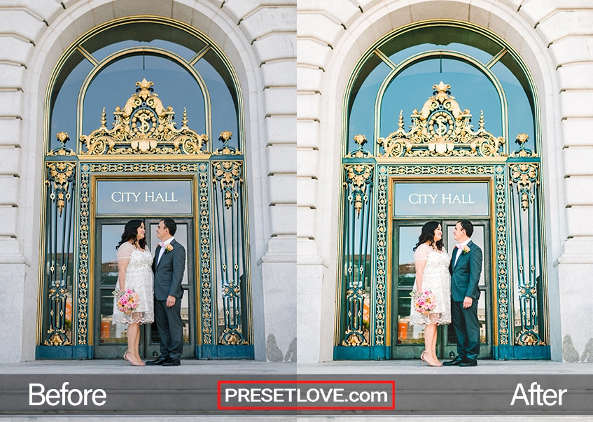 Civil wedding photo of a couple in from of the city hall