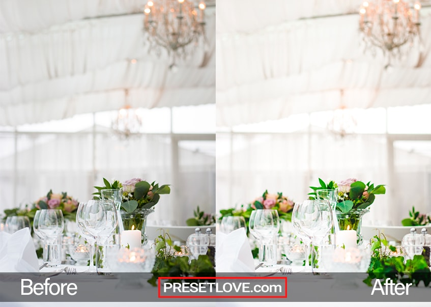 Table arrangement for a wedding reception with a warm white background