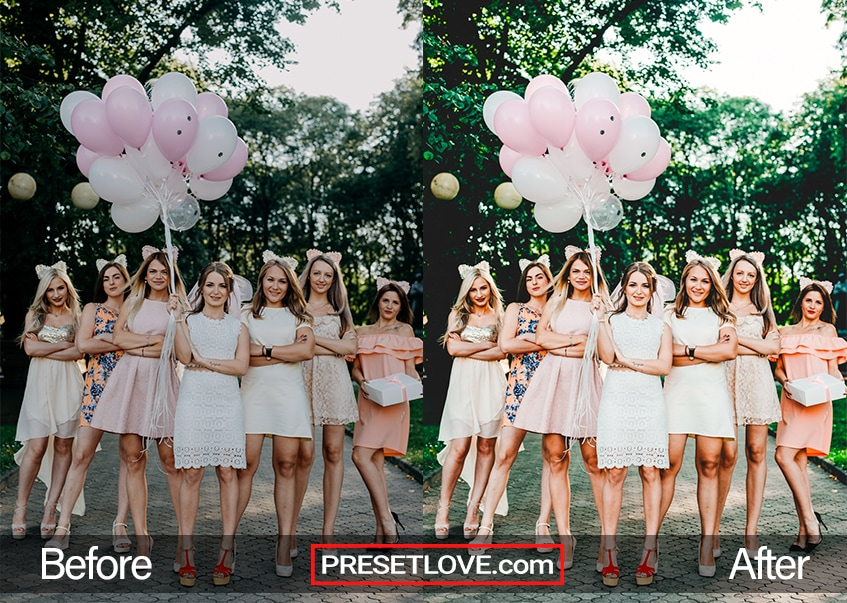 Brightened photo of bridesmaids with balloons