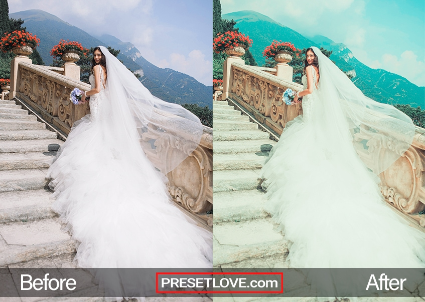 exotic italian wedding photo on stone steps with flowers and mountains
