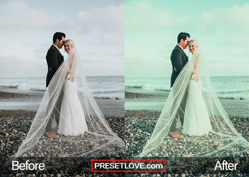 exotic beach wedding, bride and groom standing in sand with ocean and sky