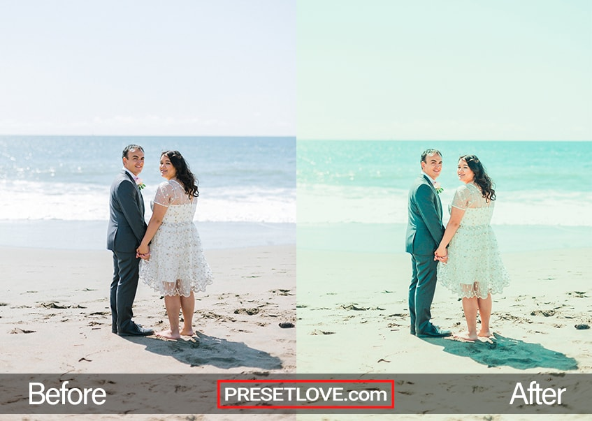 wedding photo of bride and groom on beach demonstrating preset effects