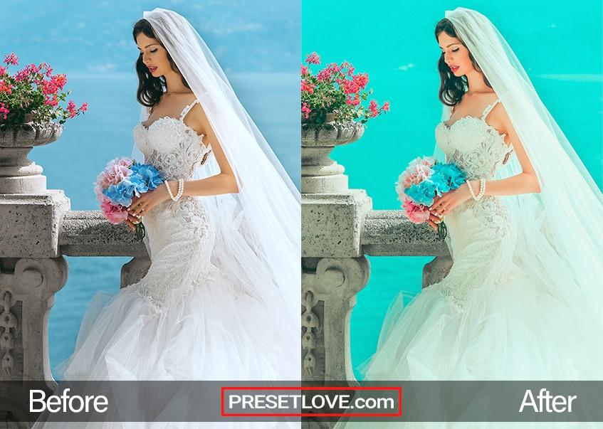 Vivid preset photo of bride in wedding dress with bouquet