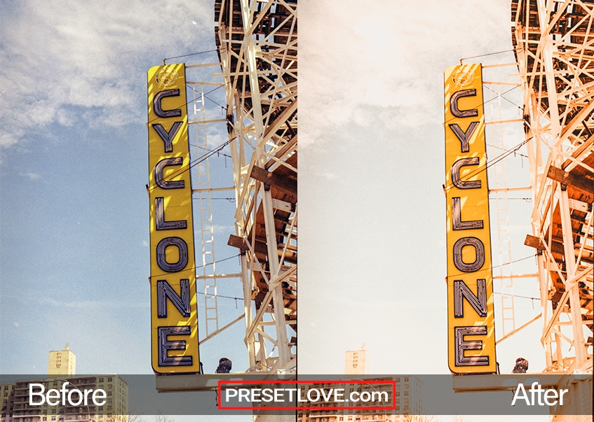 A retro signage of purple over yellow that says Cyclone