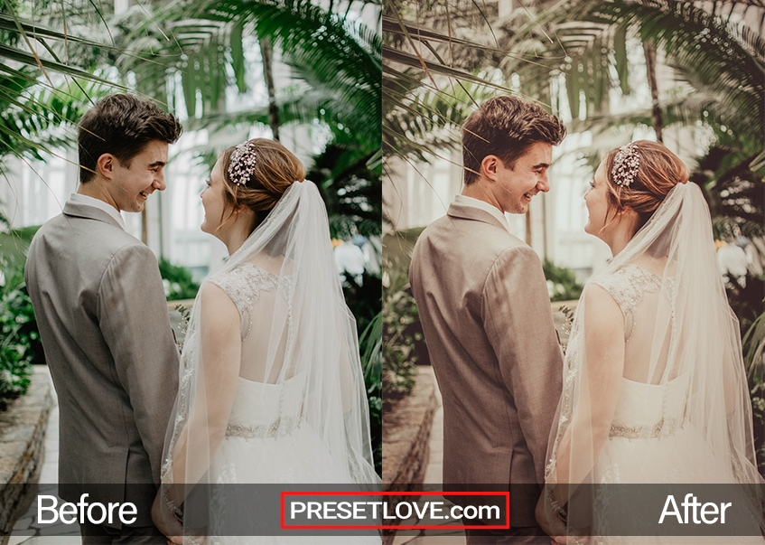 A before and after photo of a wedding in a garden, using the Boho Wedding preset