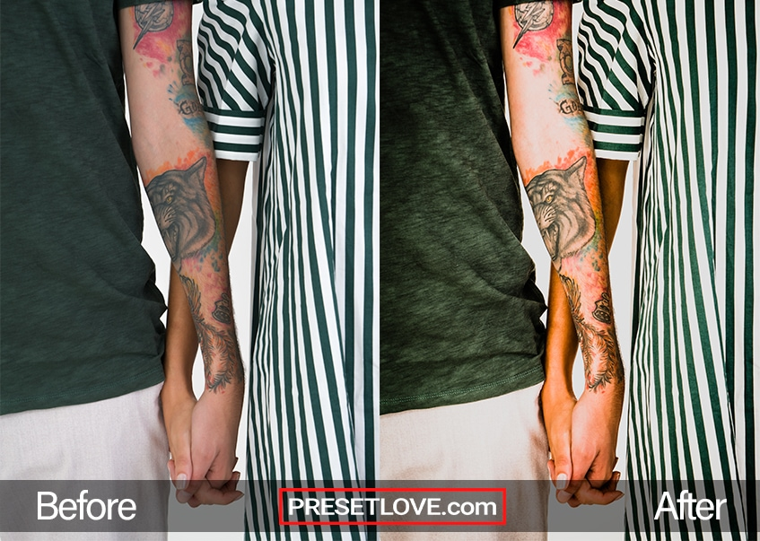 Arm with a vibrant tattoo, holding someone's hand