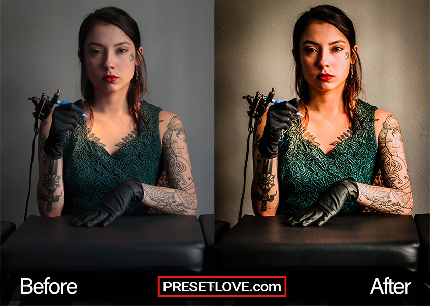 Gatsby themed photo of a woman with tattooed right arm