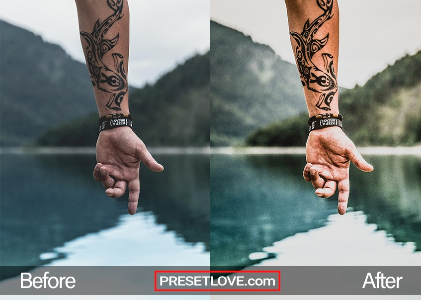 A dark inked tatoo on a man's left arm, with the lake in the backround