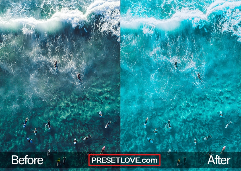 Detailed top-view shot of surfers in a clear blue ocean
