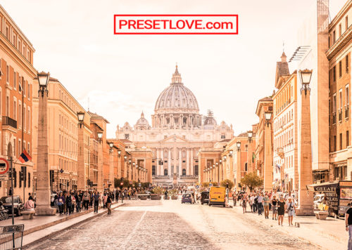 A warm and majestic cityscape of Rome