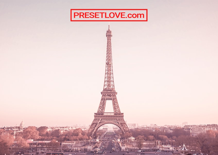 A rose-tinted photo of the Eiffel Tower