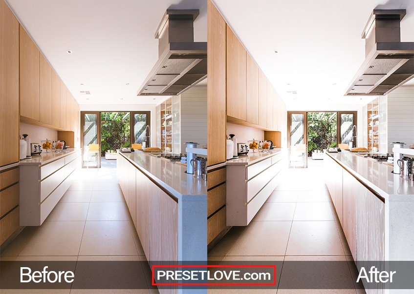 A brightened photo of a kitchen under diffused natural light