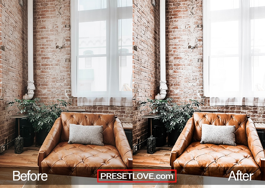 A brilliant photo of a living room with a brown leather sofa