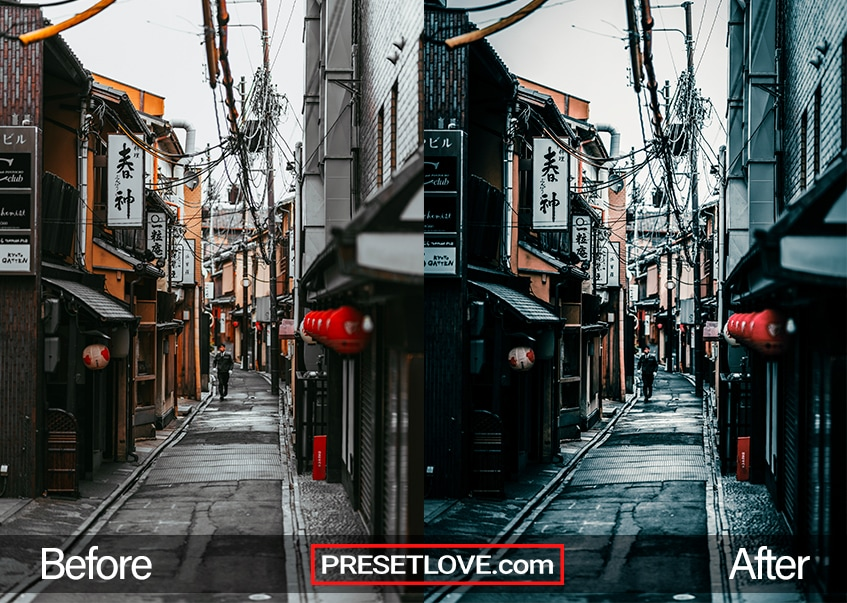 A dark and moody preset for Lightroom applied on a photo of a narrow street in Japan