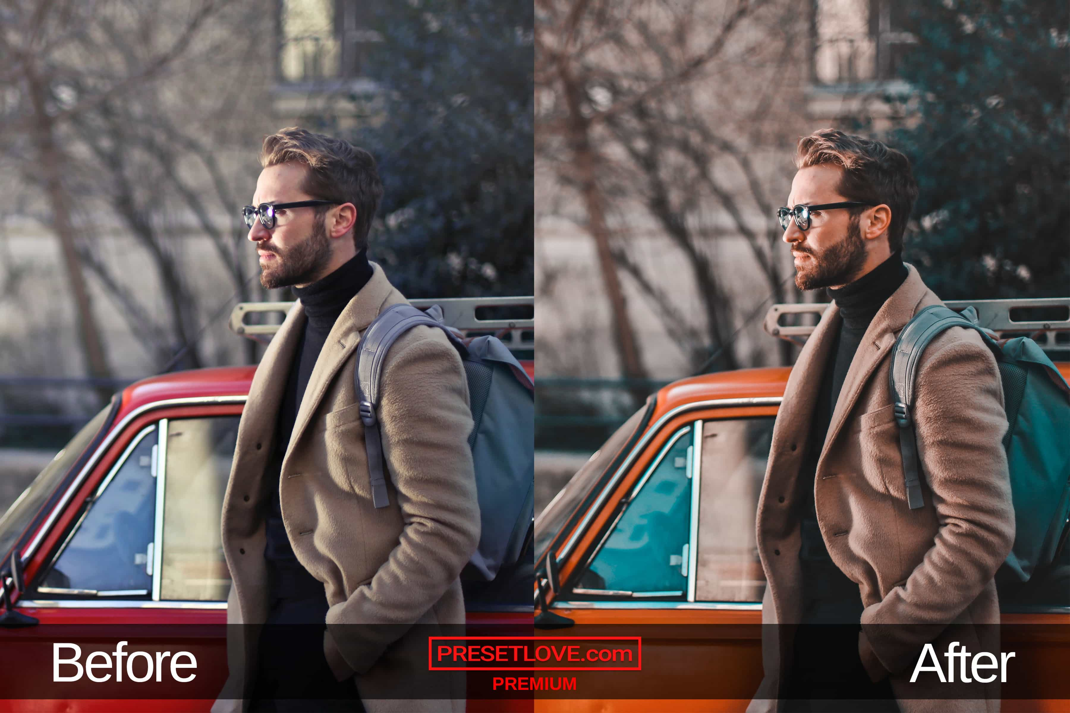 Photo of a man wearing a beige coat and a backpack, with an orange and teal cinematic preset applied