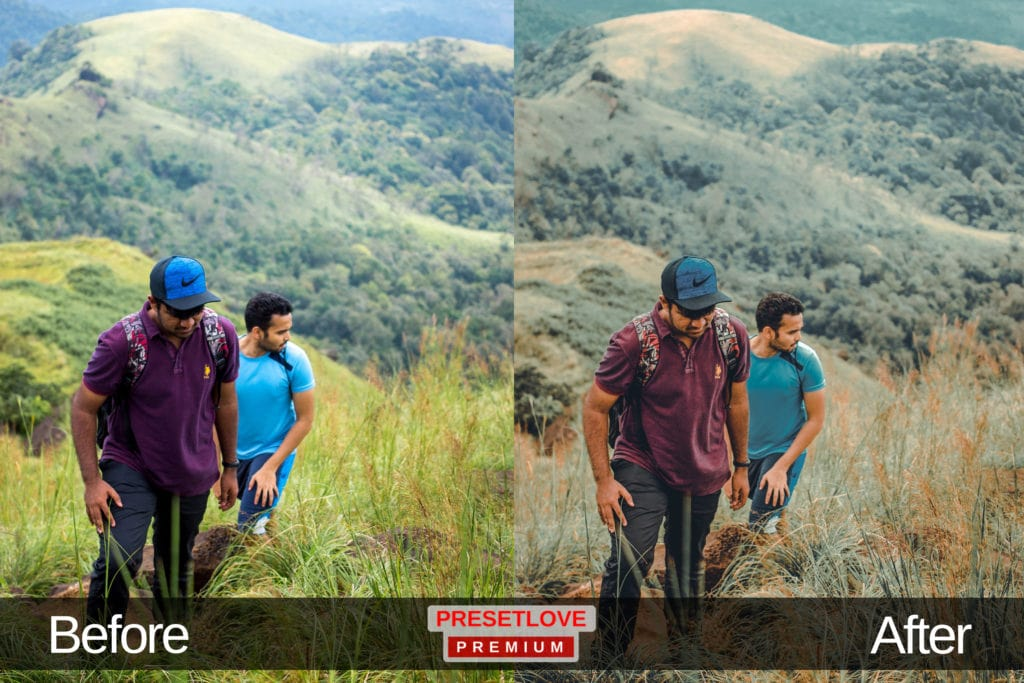 Two men hiking up the mountains wearing colorful shirts