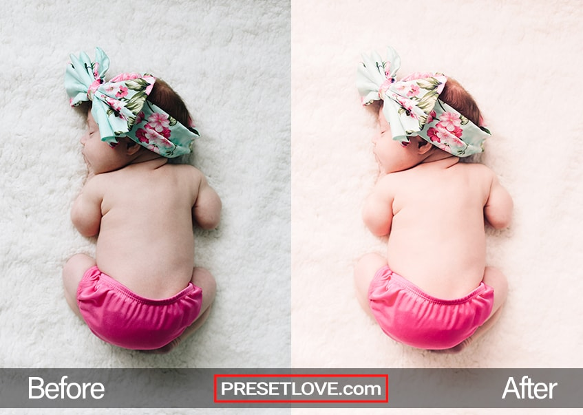 A photo of a baby wearing pink shorts and a floral headband, with a soft newborn preset applied