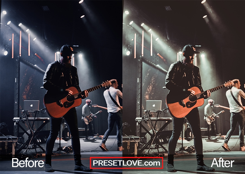 A night Lightroom preset applied to a photo of a guitarist performing