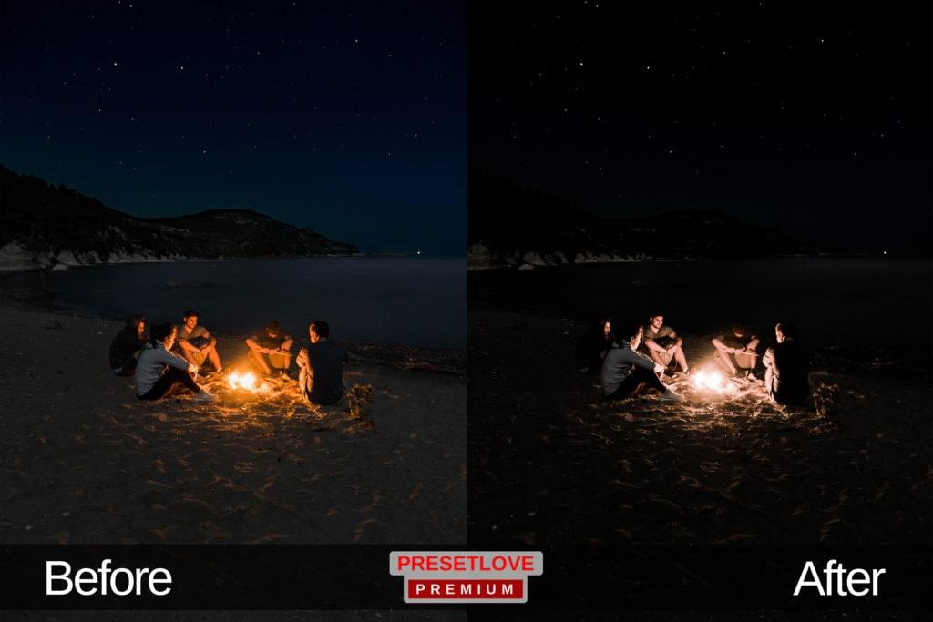 A group huddled around a campfire