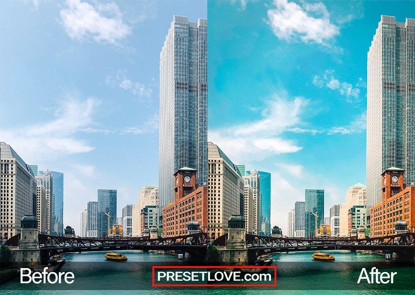 A vivid urban cityscape