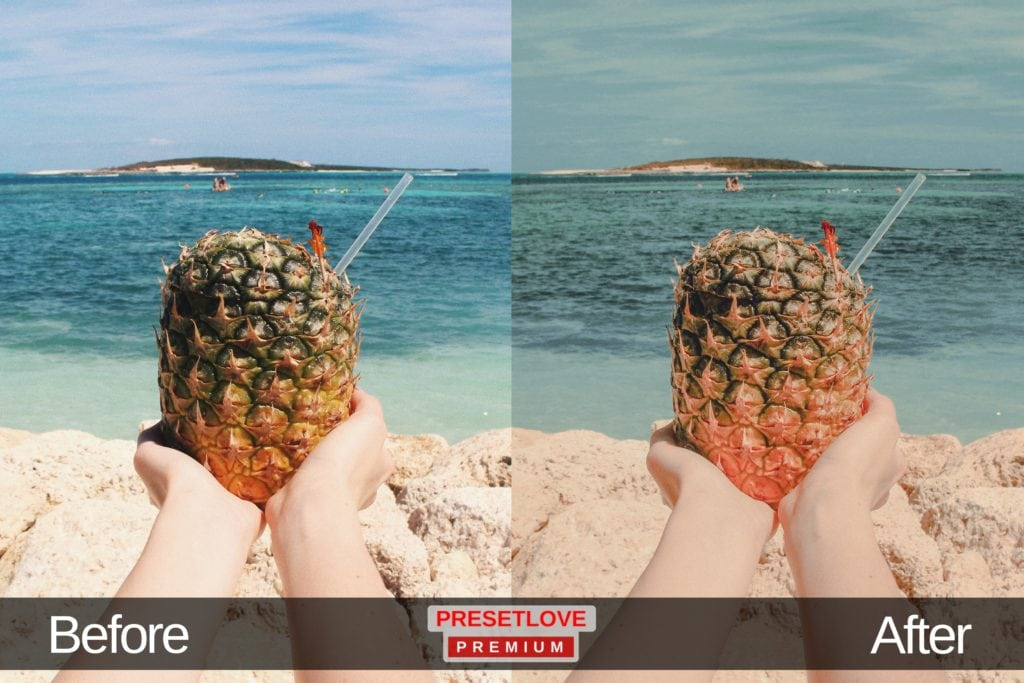 Outstretched hands holding a pineapple, with the beach in the background
