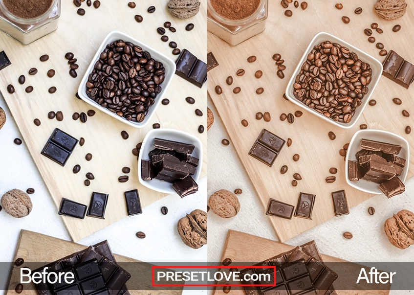 A warm flatlay image of chocolate and coffee beans