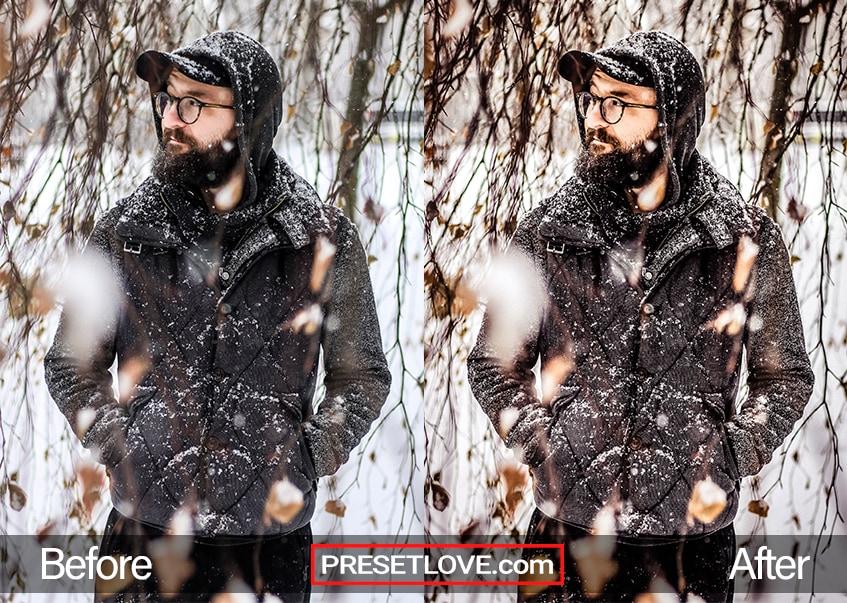 A bearded man in a black coat, strolling in a snowy landscape
