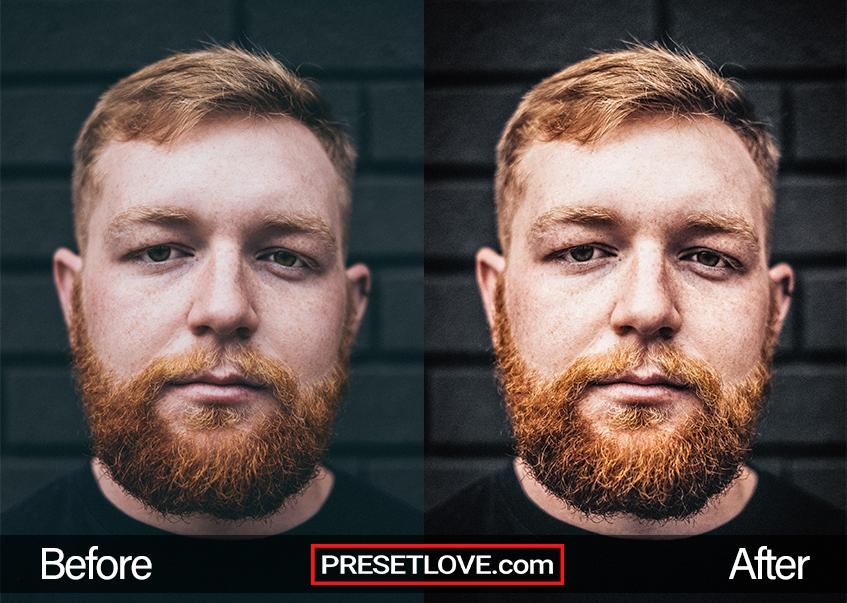 A vivid headshot of a bearded man