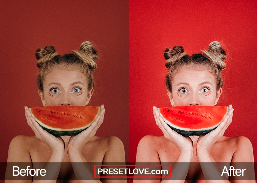 A vibrant photo of a woman holding a slice of watermelon