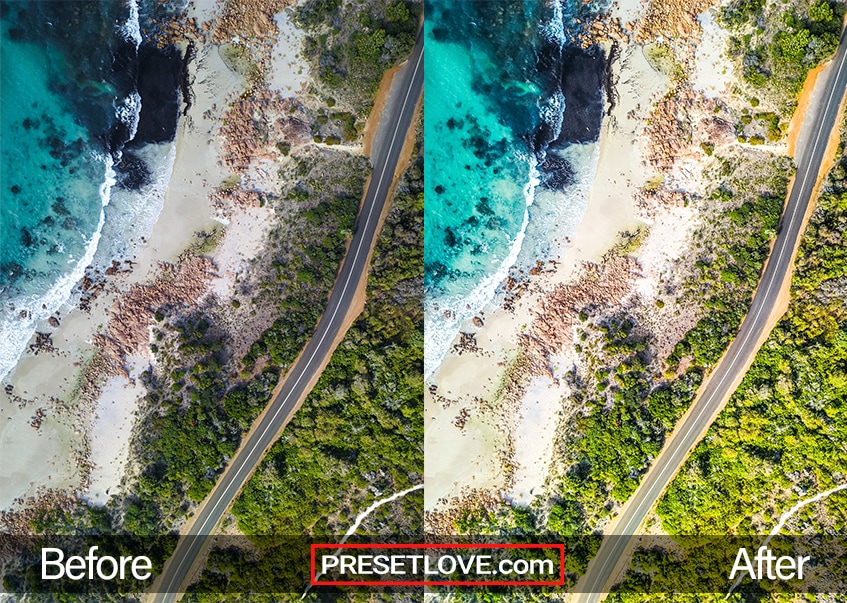 A sharp and colorful aerial photo of a beach and some trees