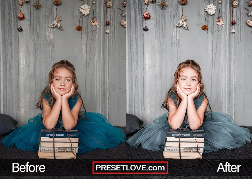 A Before and After example of a family portrait preset applied on a little girl's indoor portrait