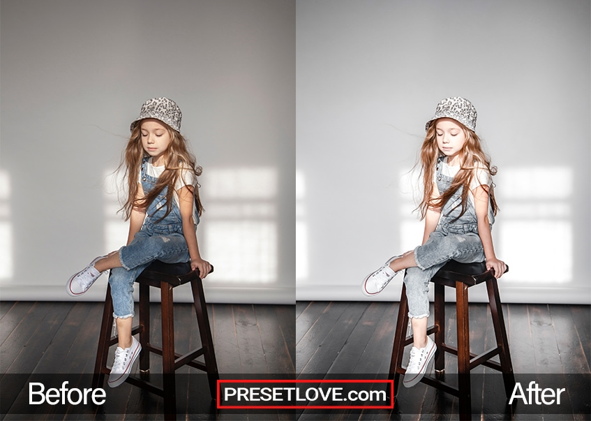 A long-haired girl sitting on a stool
