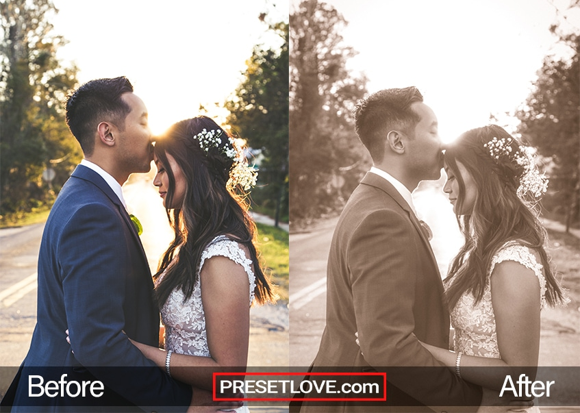 A monochrome sepia outdoor portrait of a newly wed couple