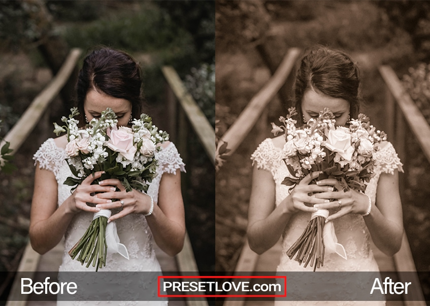 A sepia portrait of a bride holding up a bouquet to her face
