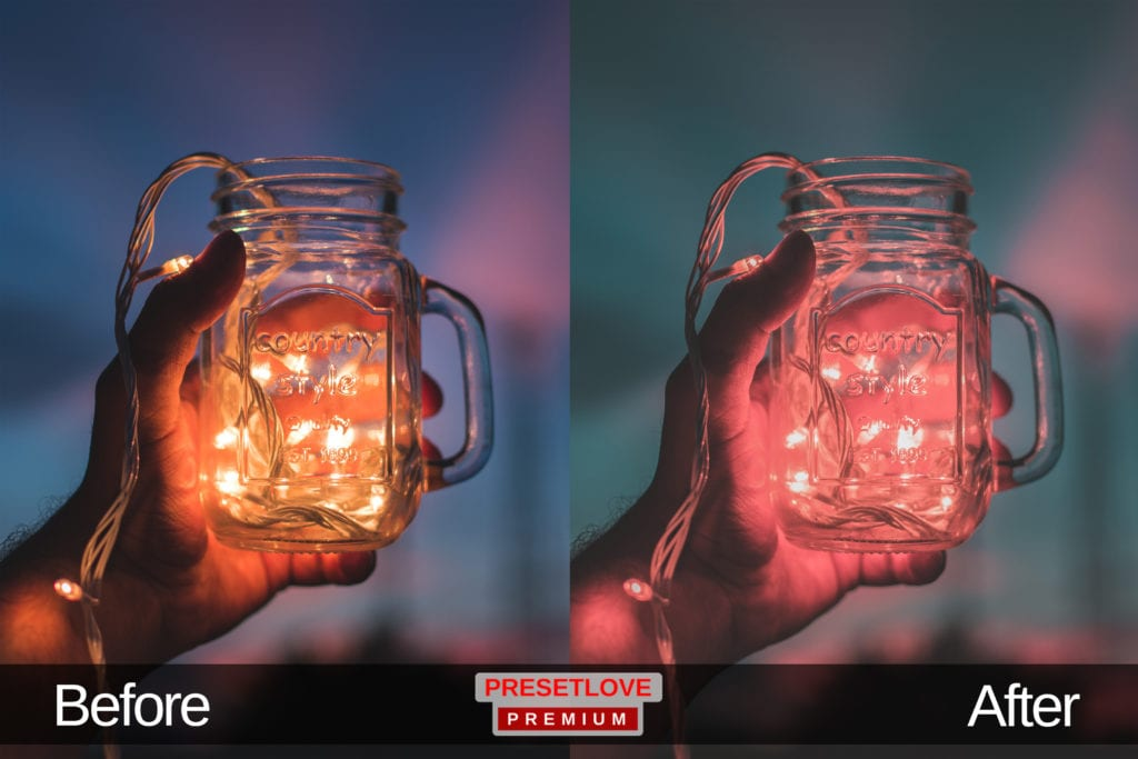 A matte photo of Christmas lights inside a mason jar